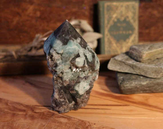 "Standing Raw Emerald Point 3.6"", Natural Emerald, Raw Emerald Point, Polished Emerald Point, Raw Emerald Chunk, Green Crystal Point, Reiki"