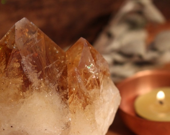 Large Citrine Sister Point, 1.20 pounds, Large Citrine Point, Double Pointed Citrine, Standing Citrine, Raw Citrine Point, Good Luck Crystal