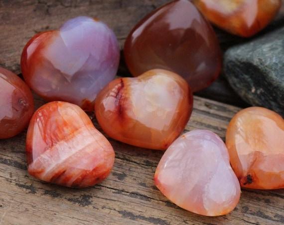 Pocket-sized Carnelian Hearts ~ For the Traveler