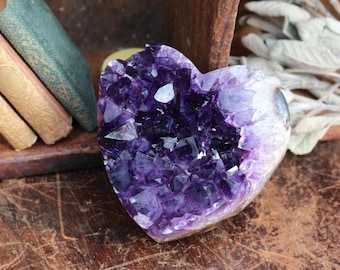 Black Amethyst Heart ~ Black Amethyst Geode Heart