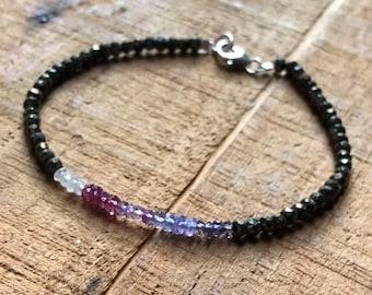 Ombré Gemstone Bracelet ~ Clear Quartz, Rainbow Moonstone, Morganite, Amethyst, Tanzanite, Iolite & Pyrite Bracelet, Chakra Bracelet