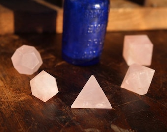 5 Piece Rose Quartz Sacred Geometry Set