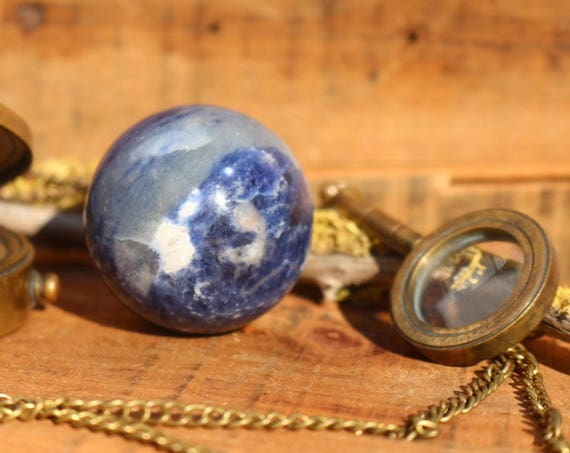 Blue Sodalite Sphere 44mm, Polished Blue Sodalite, Blue Crystal Ball, Sodalite Ball, Crystal Ball, Blue Crystal Orb, Crystal Grid