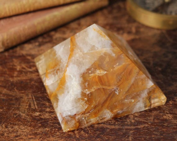 Extra Large Hematoid Quartz Pyramid 338g, Polished Hematoid Quartz, Large Crystal Pyramid, Yellow Crystal Pyramid, Standing Crystal, Reiki