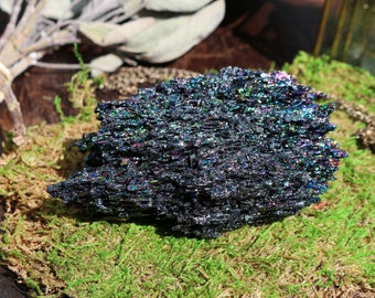 Carborundum Chunk 3.8 oz, Medium Carborundum, Rainbow Crystal, Silicon Carbide, Black Crystal Chunk, Master Healer, Large Rainbow Crystal