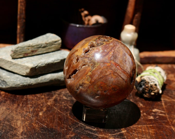 Heavy & Colorful Polished Petrified Wood Sphere