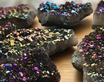 Rainbow Titanium Aura Amethyst Geode