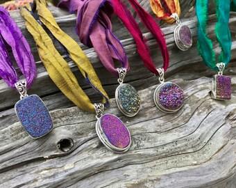 Amethyst with Rainbow Titanium Druzy Necklace