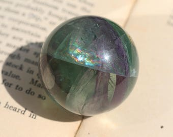Rainbow Fluorite Sphere ~ Perfect on a windowsill