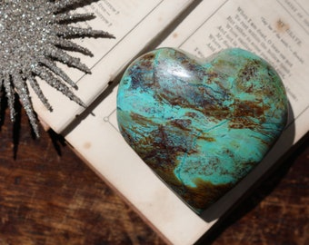 Malachite Chrysocolla & Azurite Heart / Heartshaped Chrysocolla / Malachite Heart / Polished Chrysocolla Heart / Red Cuprite Heart