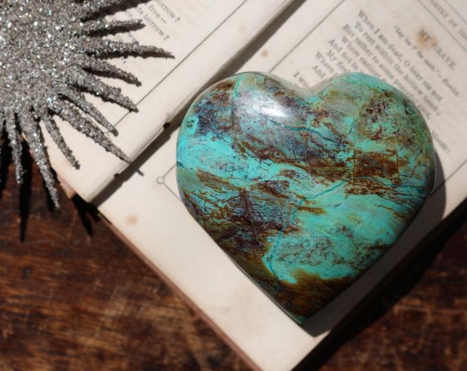 Featured listing image: Malachite Chrysocolla & Azurite Heart / Heartshaped Chrysocolla / Malachite Heart / Polished Chrysocolla Heart / Red Cuprite Heart
