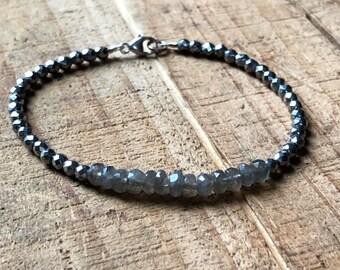 Ombré Gemstone Bracelet ~ Labradorite and Pyrite Ombré Crystal Healing Bracelet