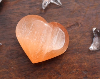 Puffy Orange Selenite Hearts
