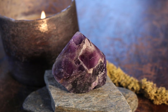 "Chevron Amethyst Point 2.75"", Standing Amethyst, Natural Chevron Amethyst, Polished Amethyst Point, Purple Crystal Point, Grid, Reiki"
