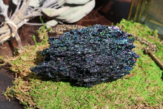 Carborundum Chunk 3.8 oz, Medium Carborundum, Rainbow Crystal, Silicon Carbide, Black Crystal Chunk, Master Healer, Large Rainbow Crystal