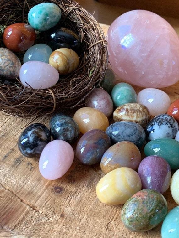 Small Crystal Easter Eggs Buy 6, 7th FREE Polished Crystal Easter Egg, Rose Quartz Egg, Carnelian Egg, Jasper Egg Calcite Egg, Easter basket