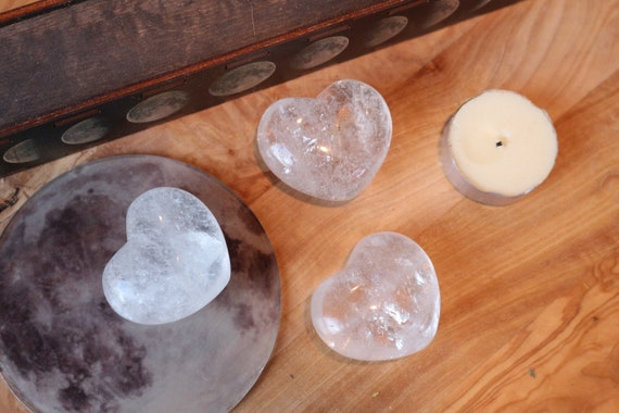 Medium Clear Quartz Heart Shaped Stones, Milky Quartz Heart, Polished Clear Quartz, Heart Shaped Quartz, Puffy Crystal Heart, Talisman
