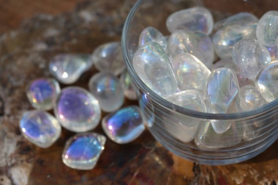 Tumbled Angel Aura Quartz Chakra Stones, Polished Clear Quartz, Angel Aura, Aura Quartz, Rainbow Quartz, Crystal Talisman