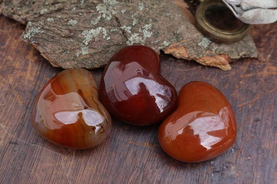 Carnelian Hearts, Polished Carnelian, Heart Shaped Carnelian, Puffy Carnelian Heart, Red Crystal Heart, Metaphysical, Gifts for Her