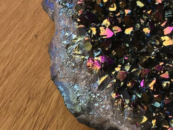 Titanium Aura Quartz Amethyst Cluster 860g, Rainbow Titanium Aura Quartz Slab, Aura Amethyst Cluster, Aura Quartz Point, Amethyst Cluster