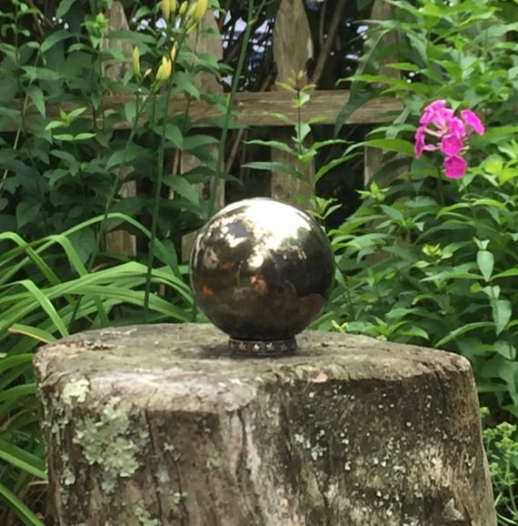 Pyrite With Hematite Sphere 44mm, Polished Pyrite, Hematite Sphere, Pyrite Orb, Crystal Ball, Metaphysical Crystal