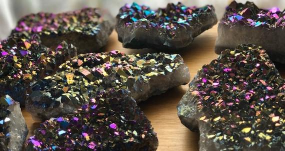 Titanium Rainbow Aura Quartz Amethyst Cluster 435g, Rainbow Titanium Aura Quartz Slab, Aura Amethyst Cluster, Amethyst Cluster, Aura Point