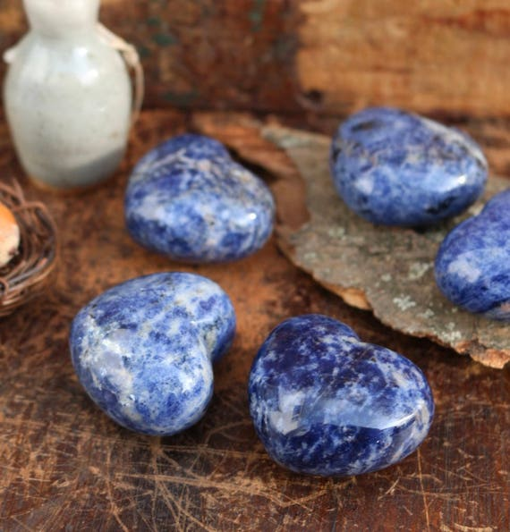 Blue Sodalite Hearts, Polished Sodalite Heart, Blue Sodalite Heart Shaped, Puffy Sodalite Heart, Small Blue Crystal Heart, Stocking Stuffer