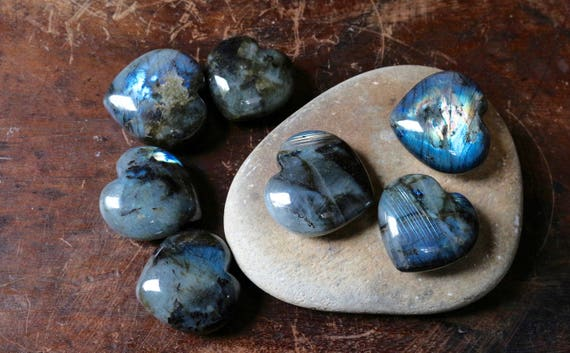 Large Labradorite Hearts, Heart Shaped Labradorite, Heart Shaped Crystal, Polished Labradorite, Blue Crystal Heart, Valentines Day