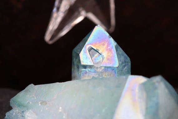 Aqua Aura Quartz Cluster 30g, Blue Aura Quartz, Aura Crystal, Aqua Angel Aura Quartz, Blue Quartz Cluster, Reiki, Gridding