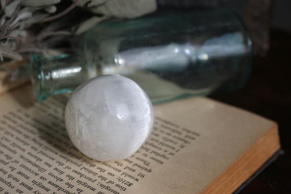 Selenite Sphere 38mm, Crystal Ball, Small Selenite Sphere, Metaphysical Crystal, Lunar Sphere, Moon Sphere, Moon Orb, Crystal Grid