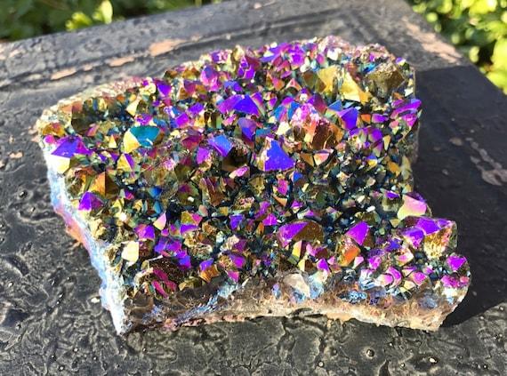 Titanium Aura Quartz Amethyst Cluster 740g, Rainbow Titanium Aura Quartz Slab, Aura Amethyst Cluster, Amethyst Cluster, Rainbow Aura Point