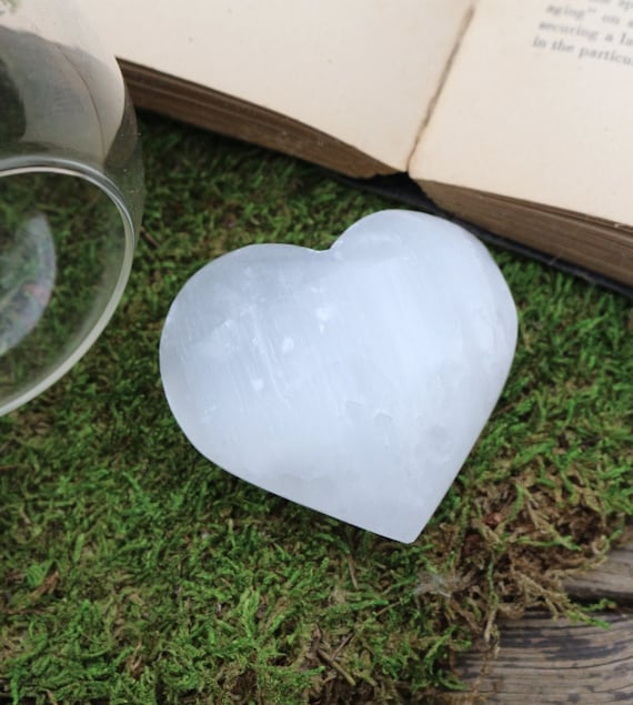 Extra Large and Large Puffy Selenite Hearts