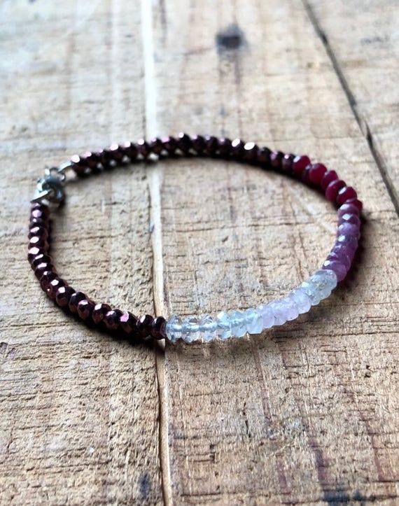 Heart Chakra Ombré Gemstone Bracelet ~ Clear Quartz, Rose Quartz, Rainbow Moonstone, Rhodolite Garnet, Ruby & Pyrite Bracelet, Bohemian