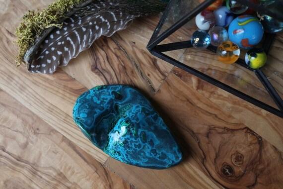 Large Green Malachite, Chrysocolla & Azurite Polished Freeform