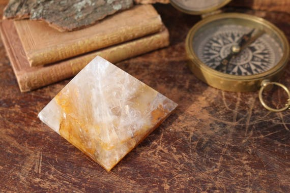 Large Hematoid Quartz Pyramid 274g, Polished Hematoid Quartz, Large Crystal Pyramid, Yellow Crystal Pyramid, Standing Crystal, Reiki, Grid