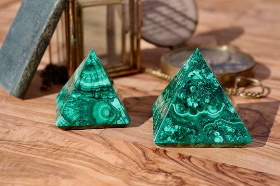 "Malachite Pyramid 2.30"", Large Malachite Pyramid, Polished Malachite, Green Crystal Pyramid, Large Malachite Triangle, Metaphysical"