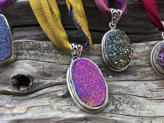Amethyst Rainbow Titanium Druzy Necklace, Amethyst Necklace, Titanium Crystal Necklace,  Bohemian Jewelry, Gypsy Style, Healing Crystal
