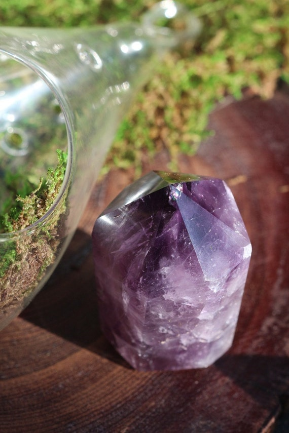 Black Amethyst Point 160g, Uruguayan Amethyst, Polished Black Amethyst Point, Amethyst Wand, Standing Black Amethyst, Reiki, Crystal Grid