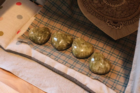 Epidote Hearts, Polished Epidote Heart, Green Epidote Heart Shaped Stone, Puffy Epidote Heart, Small Green Crystal Heart, Valentines Day