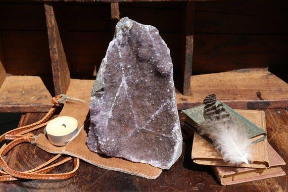 Black Amethyst Geode 2.25 lbs, Druzy Amethyst, Raw Amethyst Cluster, Standing Black Amethyst, Amethyst Cluster, Healing Crystal, Boho