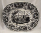 Victorian transferware Platter antique dish scope.