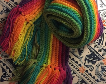 Rainbow Ribbed Pattern Scarf