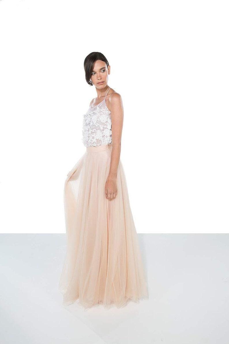 Lace wedding top  Bridal Separates  sheer lace wedding top  3D flower lace wedding top  Wedding Top lace wedding top  /'CAMi/'