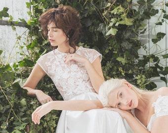 Lace Wedding Top / Sheer Lace Wedding Top /Wedding Top / White Wedding Top / Custom Wedding Top / White Wedding Top / Bridal Separates
