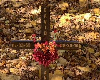 EXPEDITED-personalized roadside memorial cross// roadside cross// grave site cross// cemetery marker//copper/ #367 with expedited shipping
