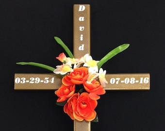 Memorial Cross// roadside cross// grave site cross// cemetery cross// #69 DISPLAY MODEL Gold Vein