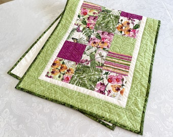 Floral Table Runner, Quilted Table Runners, Butterfly Table Topper for a Modern Home Decor