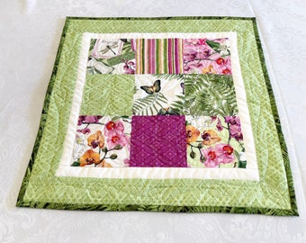 Orchids Quilted Table Topper, Spring Floral Table Runner, Dining Linens Home Decor with Flowers