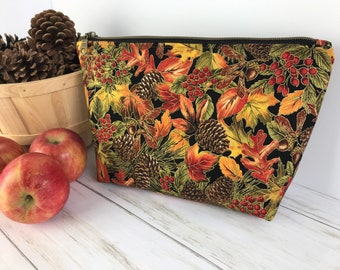 Fall Makeup Bag, Structured Cosmetic Pouch, Handbag Organizer, Autumn Zippered Zip Purse, Travel Pouches, Toiletries Bags