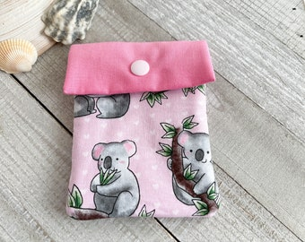 Koalas Mini Pouch, Bag with Snap Closure for Makeup, Personal Items, Jewelry, Gift Card Holder